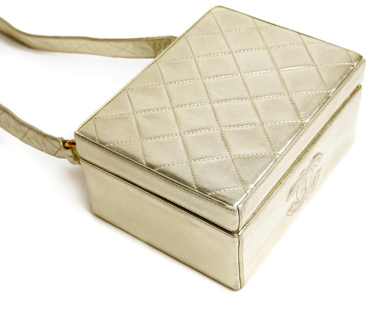 Chanel Platinum Leather Box Bag For Sale 2