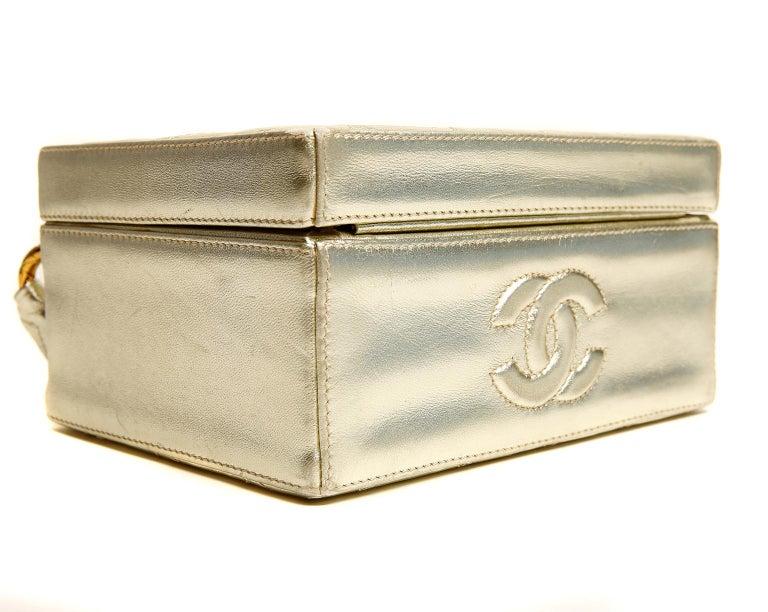Chanel Platinum Leather Box Bag For Sale 3