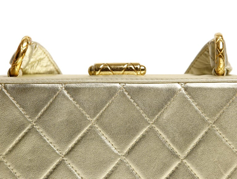 Chanel Platinum Leather Box Bag For Sale 4