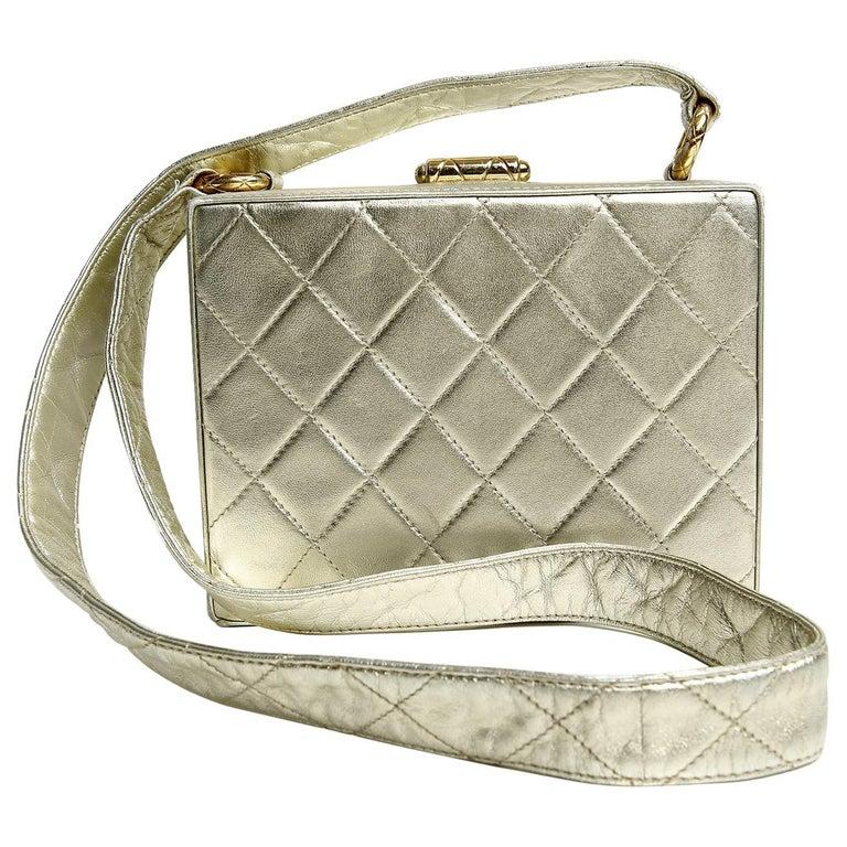 Chanel Platinum Leather Box Bag For Sale