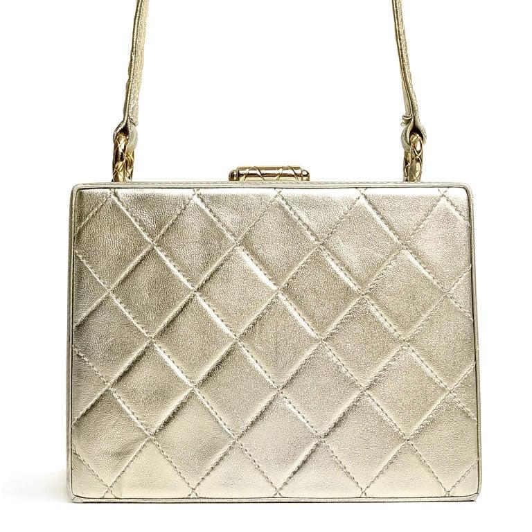 Beige Chanel Platinum Leather Box Bag For Sale
