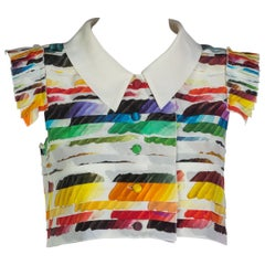 Chanel Pleated Rainbow Cropped Blouse Top Runway Spring 2014
