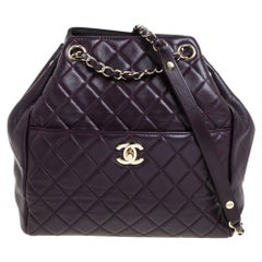 Chanel Plum Quilted Leather Timeless Classic Drawstring Bag