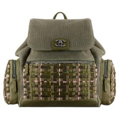 Chanel Pocket Backpack Bag in Woven Tweed and Canvas