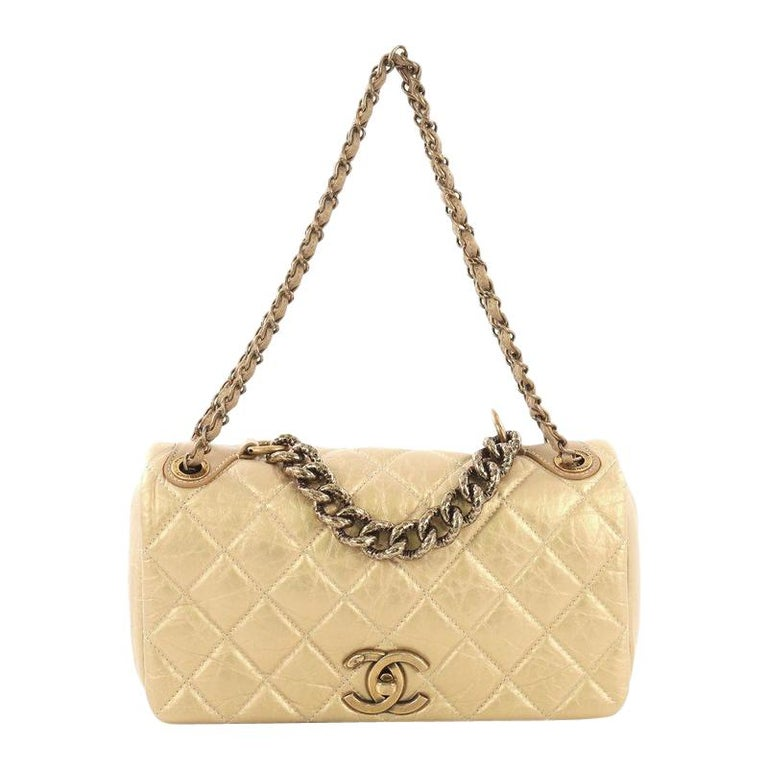 a37122e29b61d9 Chanel Pondichery Flap Bag Quilted Aged Calfskin Medium For Sale at ...