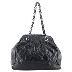 Chanel Portobello Frame Tote Quilted Glazed Calfskin and Tweed