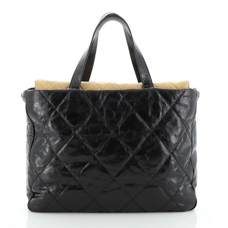 Black Chanel Portobello Tote Quilted Glazed Calfskin Medium For Sale