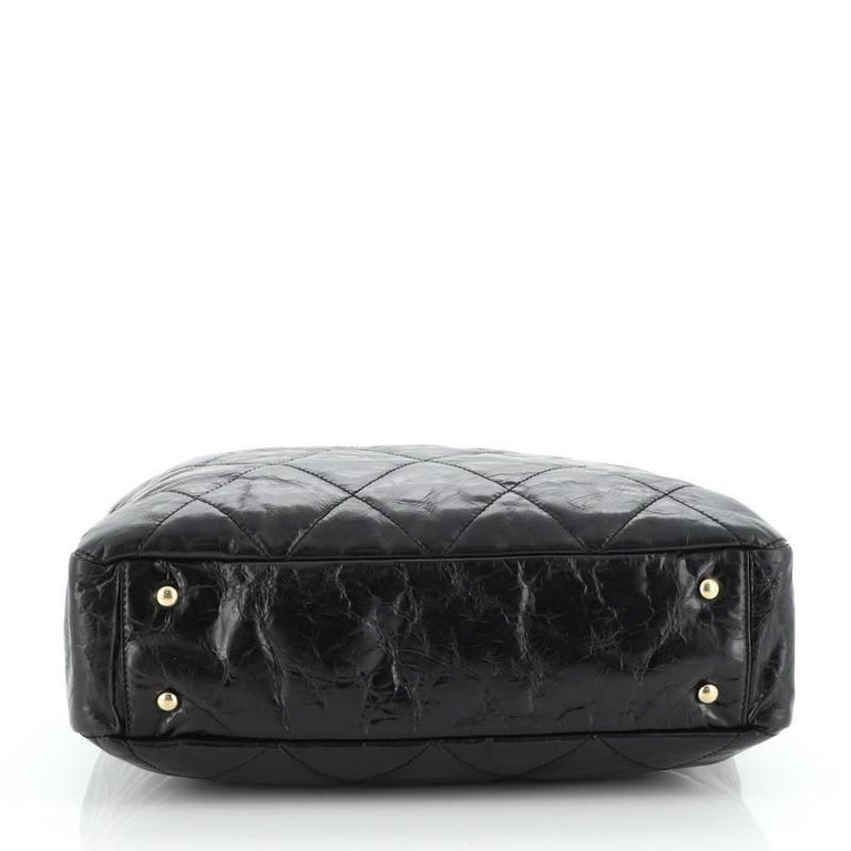 Chanel Portobello Tote Quilted Glazed Calfskin Medium In Good Condition For Sale In New York, NY