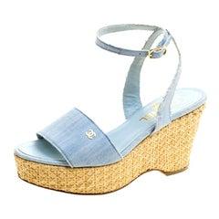 Chanel Powder Blue Canvas CC Wedge Sandals Size 36