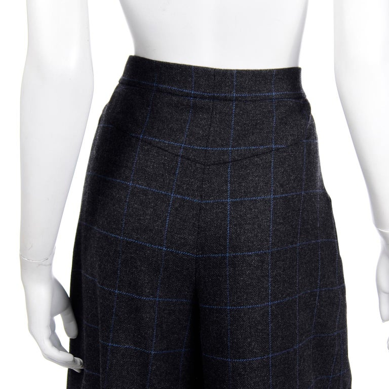 Chanel Pre-Fall 2018 New w Tags Grey & Blue Windowpane Wool Sailor Style Pants For Sale 6