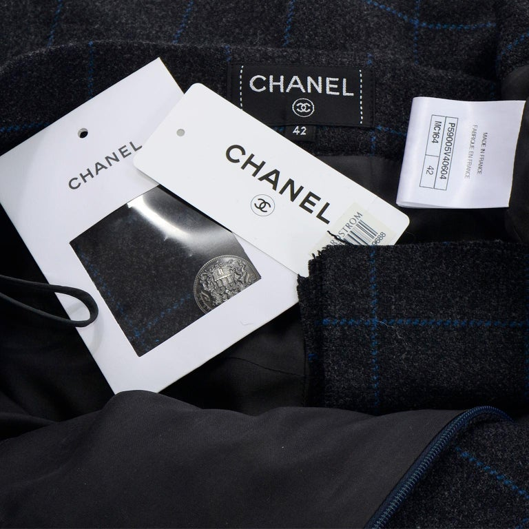 Chanel Pre-Fall 2018 New w Tags Grey & Blue Windowpane Wool Sailor Style Pants For Sale 7