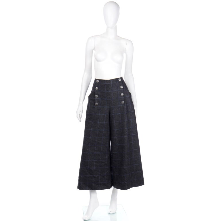 Gray Chanel Pre-Fall 2018 New w Tags Grey & Blue Windowpane Wool Sailor Style Pants For Sale