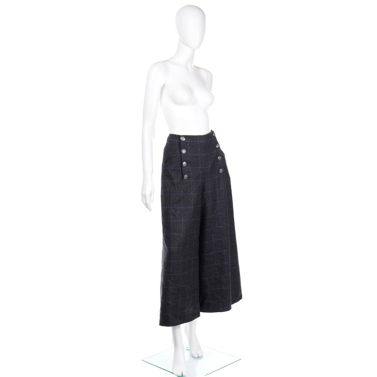 Chanel Pre-Fall 2018 New w Tags Grey & Blue Windowpane Wool Sailor Style Pants In New Condition For Sale In Portland, OR