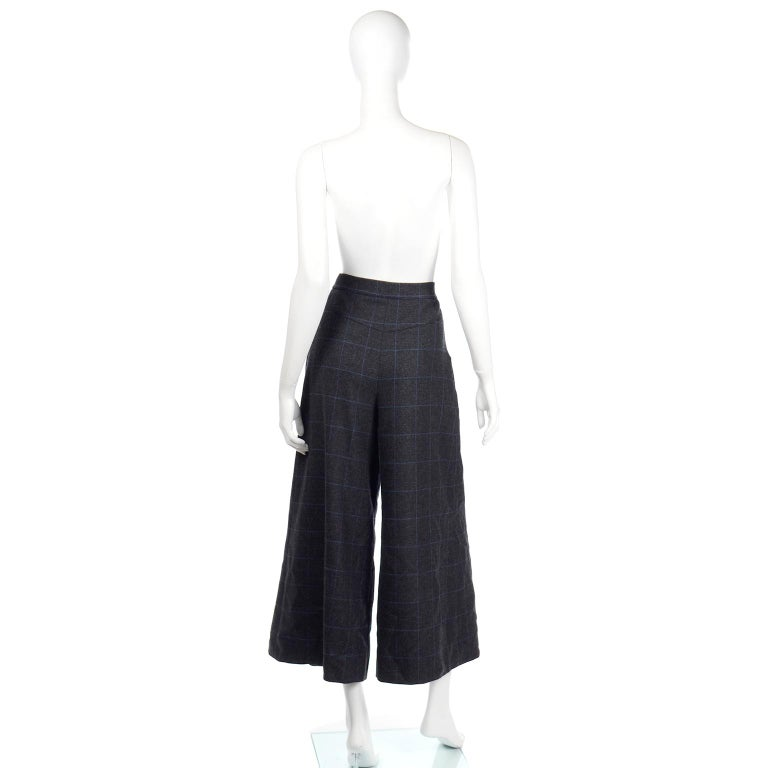 Women's Chanel Pre-Fall 2018 New w Tags Grey & Blue Windowpane Wool Sailor Style Pants For Sale