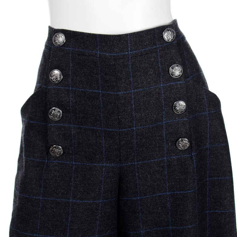 Chanel Pre-Fall 2018 New w Tags Grey & Blue Windowpane Wool Sailor Style Pants For Sale 2