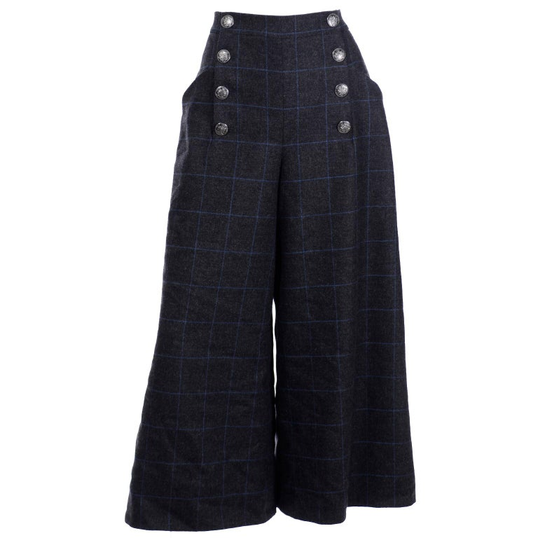 Chanel Pre-Fall 2018 New w Tags Grey & Blue Windowpane Wool Sailor Style Pants For Sale