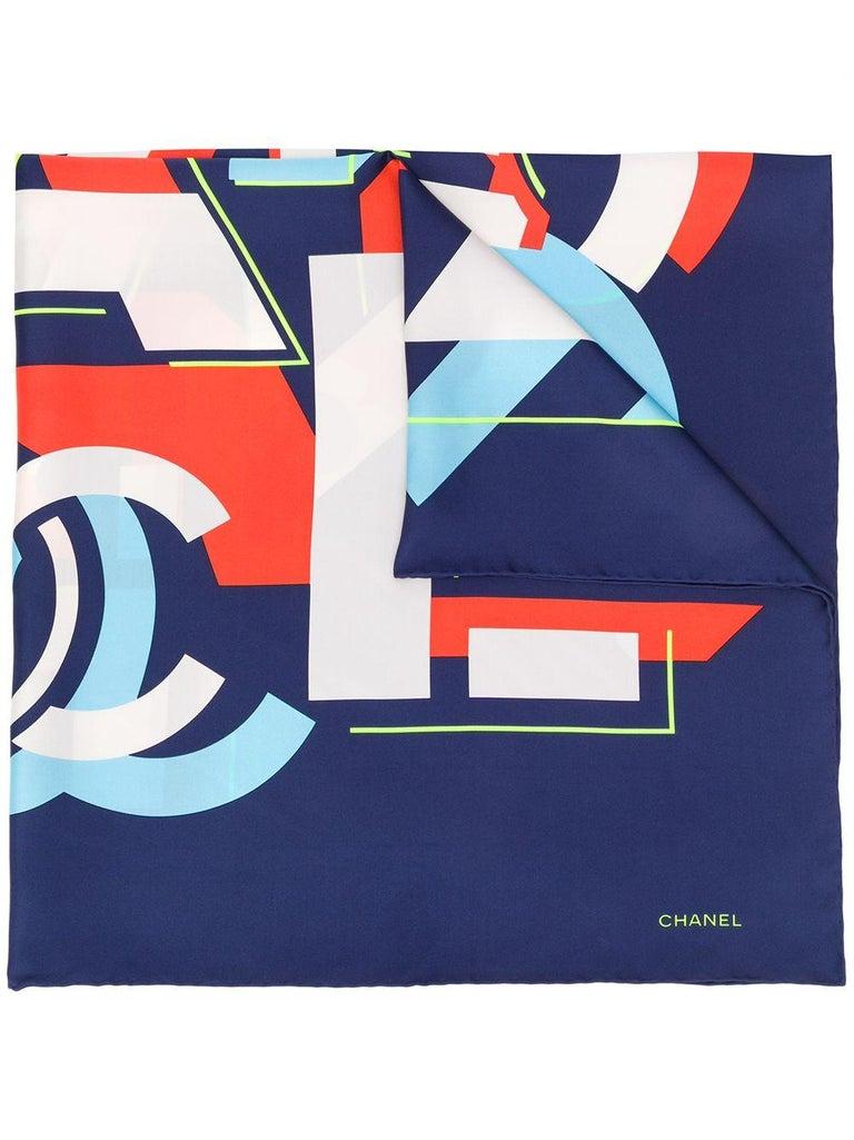 Purple Chanel Pre-Owned geometric logo silk scarf For Sale
