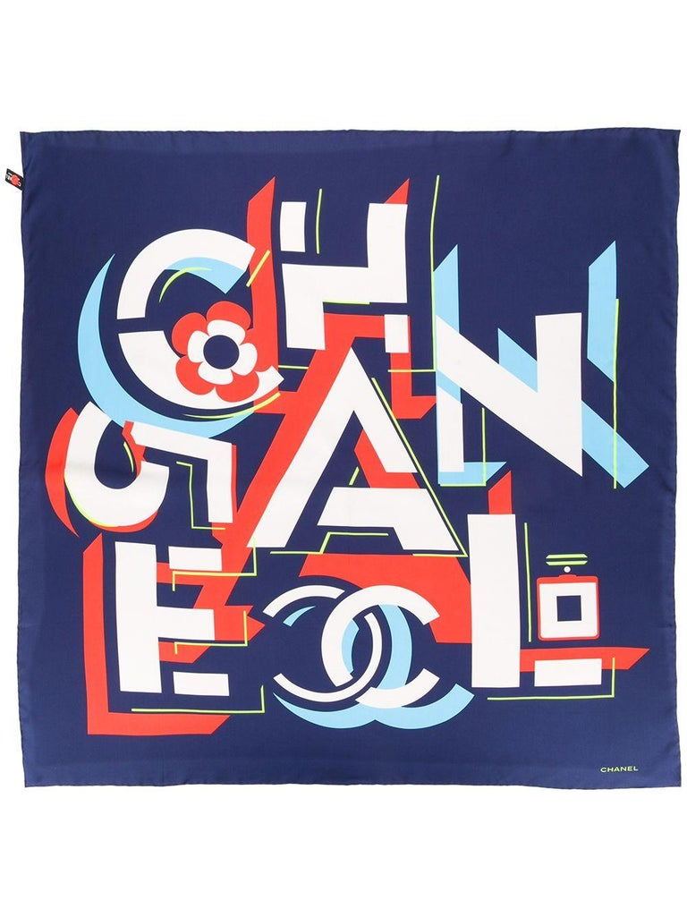 Chanel Pre-Owned geometric logo silk scarf In Excellent Condition For Sale In London, GB