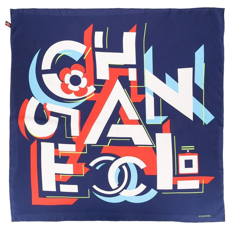 Chanel Pre-Owned geometric logo silk scarf For Sale