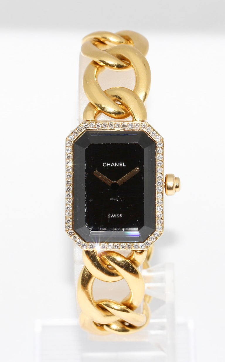 CHANEL Première - 18 Karat Gold solid Ladies Wrist Watch with Diamond Bezel and Clasp! This is the larger 20mm model!  Currently in the online market, the only model with diamond clasp!  The watch comes with a certificate of authenticity and a new