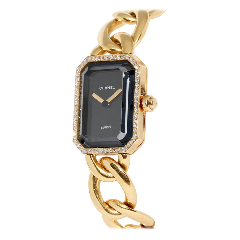 Chanel Première, 18 Karat Gold Solid Ladies Wristwatch with Diamonds For Sale
