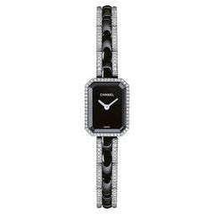 Chanel Premiere 18 Karat White Diamond and Black Ceramic Quartz Watch H2147