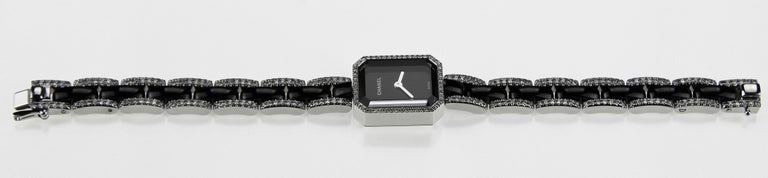Modern Chanel Premiere Ladies Dress Watch in 18 K White Gold, Black Ceramic & Diamonds  For Sale