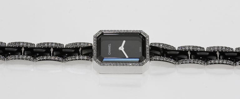Round Cut Chanel Premiere Ladies Dress Watch in 18 K White Gold, Black Ceramic & Diamonds  For Sale
