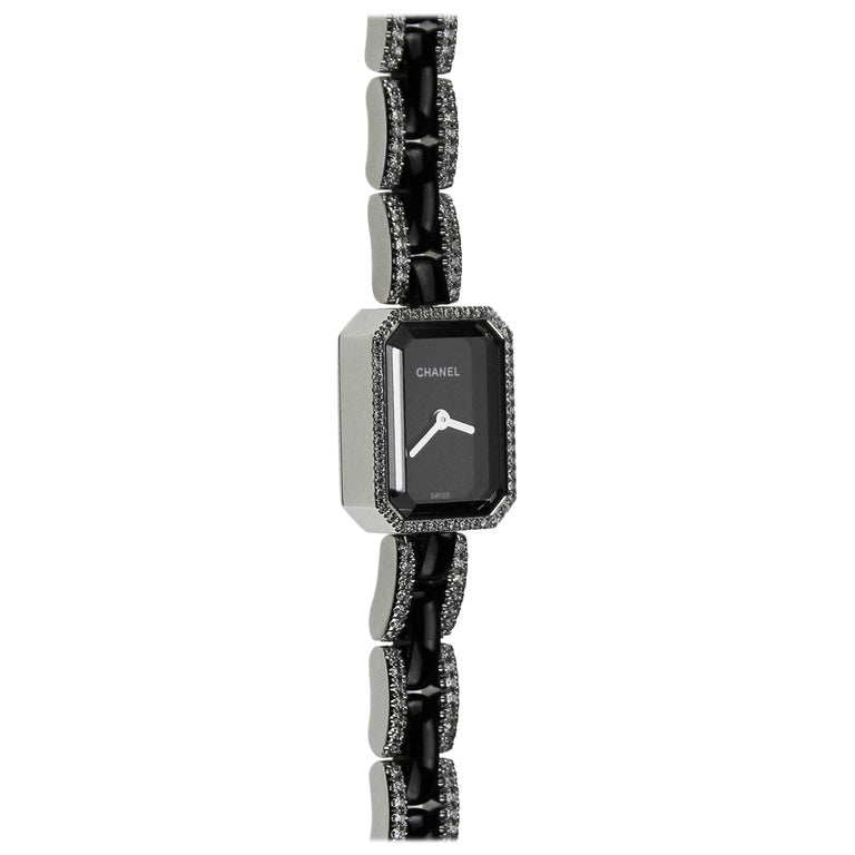 Chanel Premiere ladies dress watch in 18K white gold with black ceramic and diamonds. Recently been serviced by Chanel.  The case of the Première watch reflects the octagonal design of the Place Vendôme, a symbol of architectural perfection and