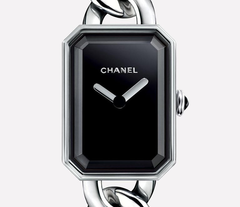 Contemporary Chanel Première Chain Watch Small Version, Steel, Black-Lacquered Dial For Sale
