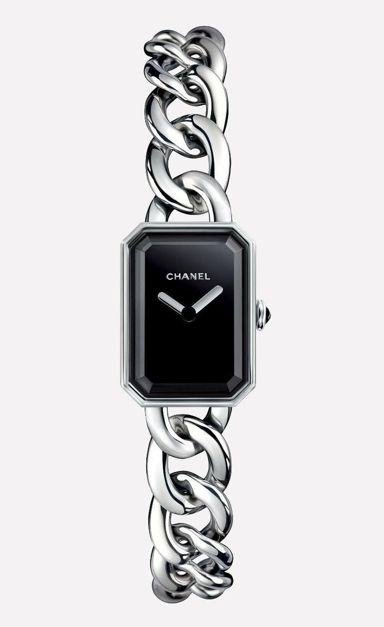 Chanel Première Chain Watch Small Version, Steel, Black-Lacquered Dial In New Condition For Sale In Firenze, IT