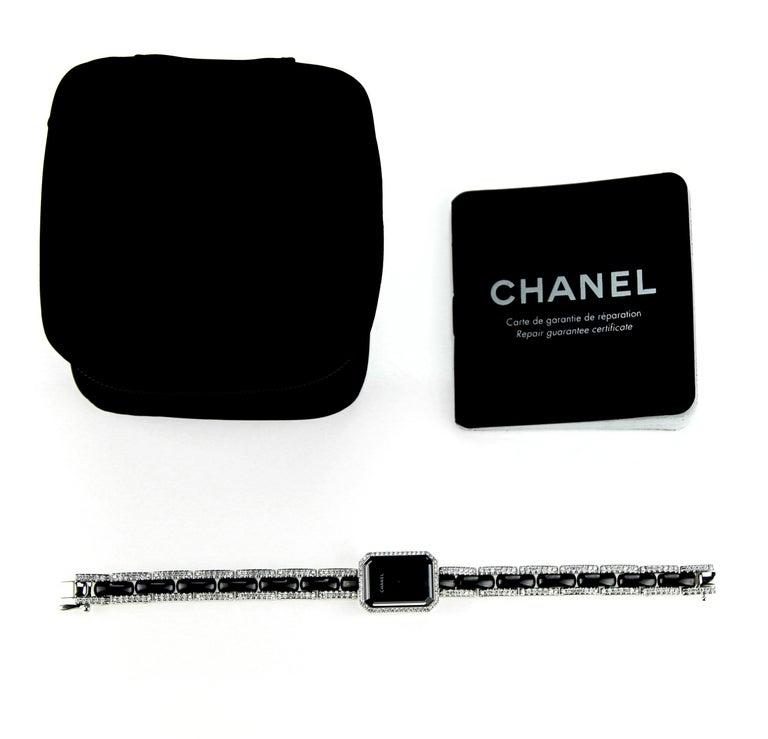 Chanel Premiere ladies dress watch in 18 carat white gold with black ceramic and diamonds. Recently been serviced by Chanel.