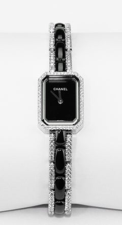 Chanel Premiere Ladies Dress Watch in 18 K White Gold, Black Ceramic & Diamonds