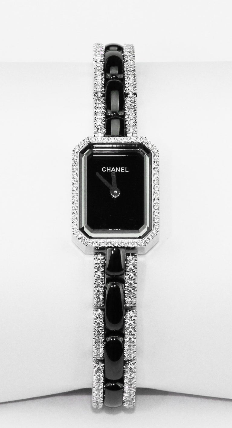 Chanel Premiere Ladies Dress Watch in 18 K White Gold, Black Ceramic & Diamonds  For Sale