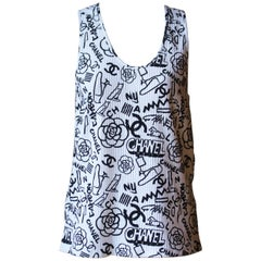 Chanel Printed Ribbed-Jersey Tank Top