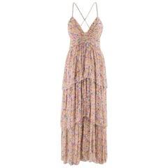 Chanel Printed Silk Chiffon Tiered Runway Midi Dress S 40
