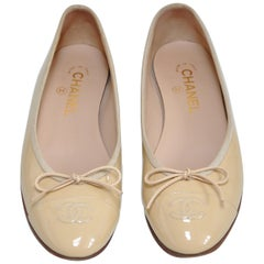 Chanel Pumps Ballet Ballerina Flats Classic Shoes Nude Cream Beige