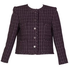 Chanel Purple and Silver Jacket CC Rhinestone Buttons, 2002