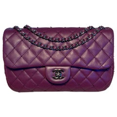 Chanel Purple Beaded Leather Classic Flap Shoulder Bag