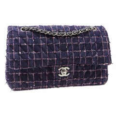 Chanel Purple Blue Pink Tweed Checker Leather Silver Evening Shoulder Flap Bag
