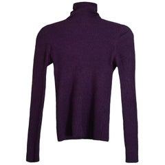 Chanel Purple Cashmere Blend Long Sleeve Turtleneck Sweater w/ CC Buttons sz 38