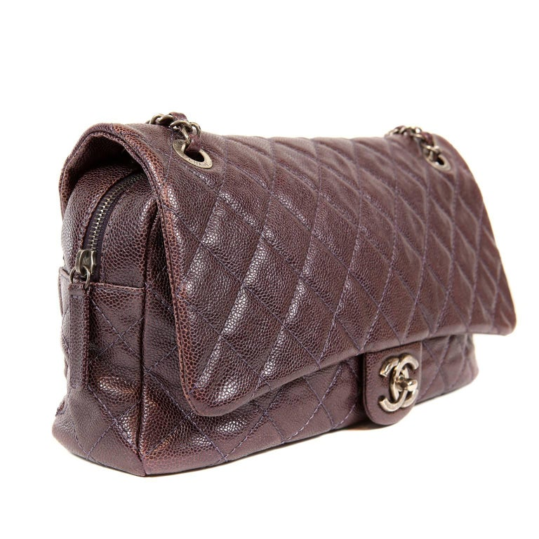 d6569e84d846 Chanel Purple Caviar Easy Zip Classic Flap Bag- Large For Sale at ...