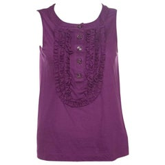 Chanel Purple Cotton Jersey Ruffled Yoke Detail Sleeveless Top S