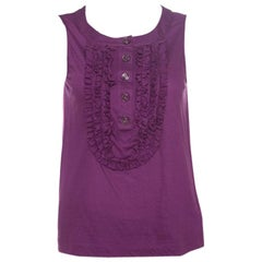 Chanel Purple Cotton Jersey Ruffled Yoke Detail Sleeveless Top S