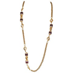 Chanel Purple Gripoix and Rock Crystal Necklace