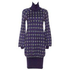 Chanel Purple Lurex Knit Geometric Pattern Sweater Dress S