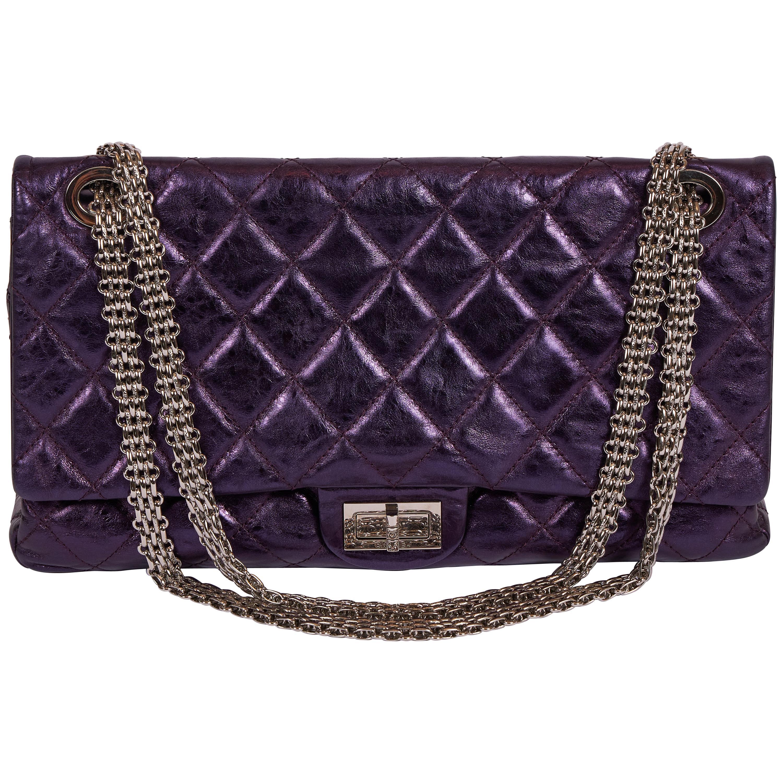 Chanel Purple Metallic Maxi Reissue Flap Bag
