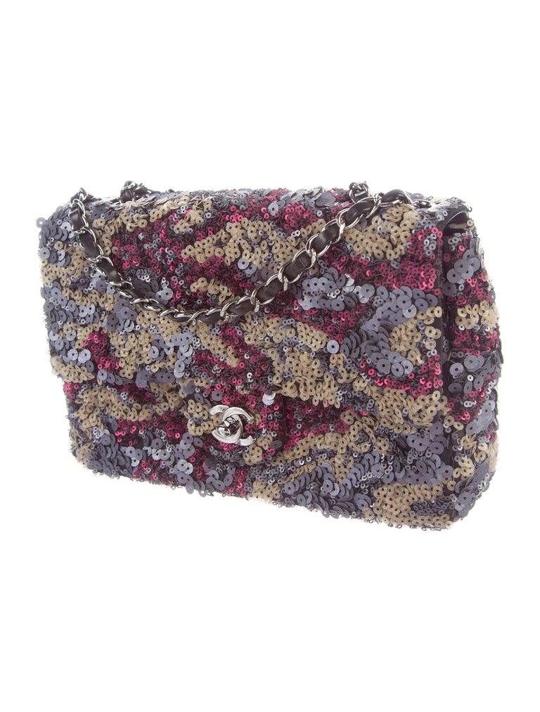 Gray Chanel Purple Multi Color Sequin Black Leather Medium Evening Flap Shoulder Bag For Sale