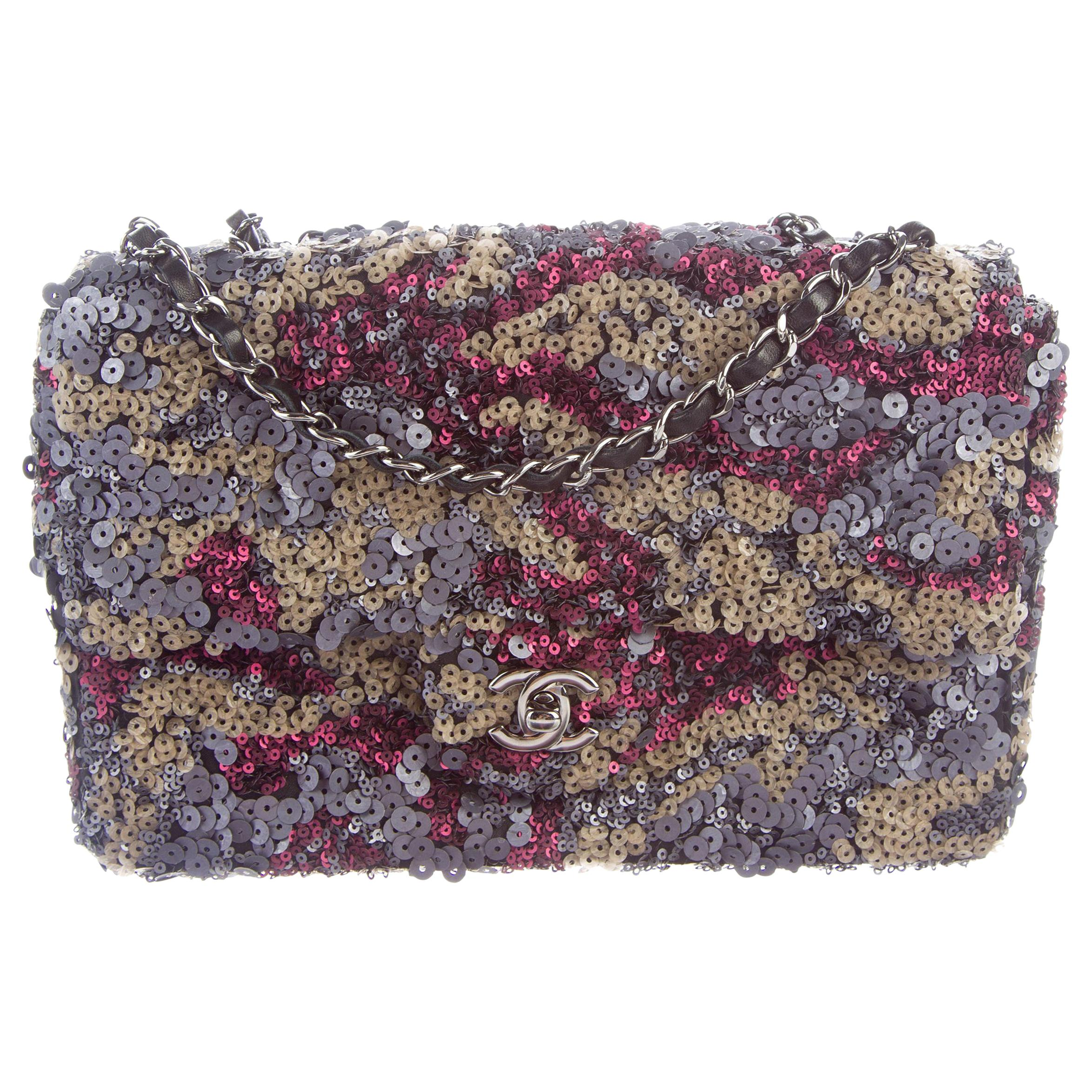 Chanel Purple Multi Color Sequin Black Leather Medium Evening Flap Shoulder Bag