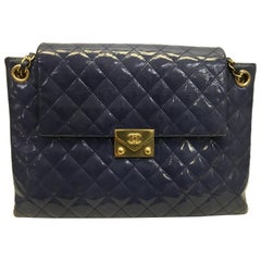 Chanel Purple Patent Leather Quilted Shoulder Bag